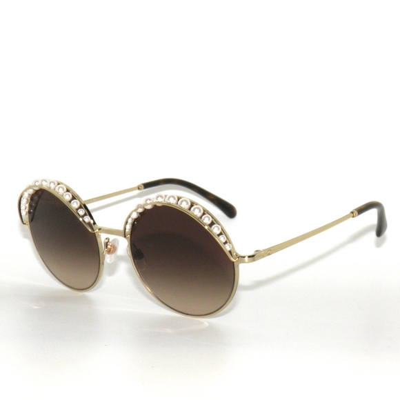 Chanel Pearl 4234h 395 S5 Gold Brown Sunglasses